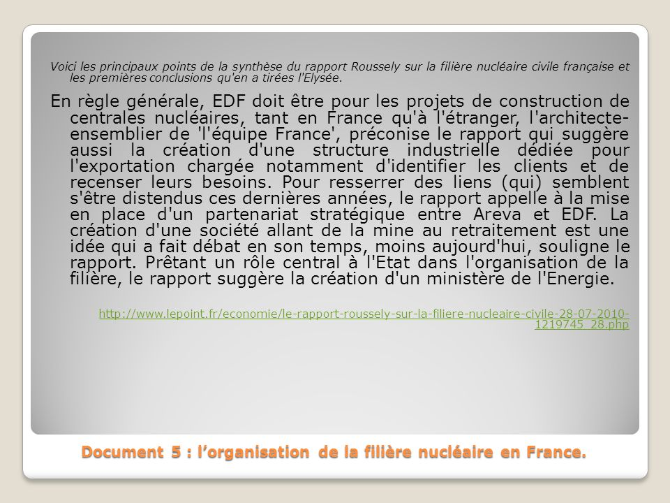 Document 5 : l'organisation de la filière nucléaire en France.