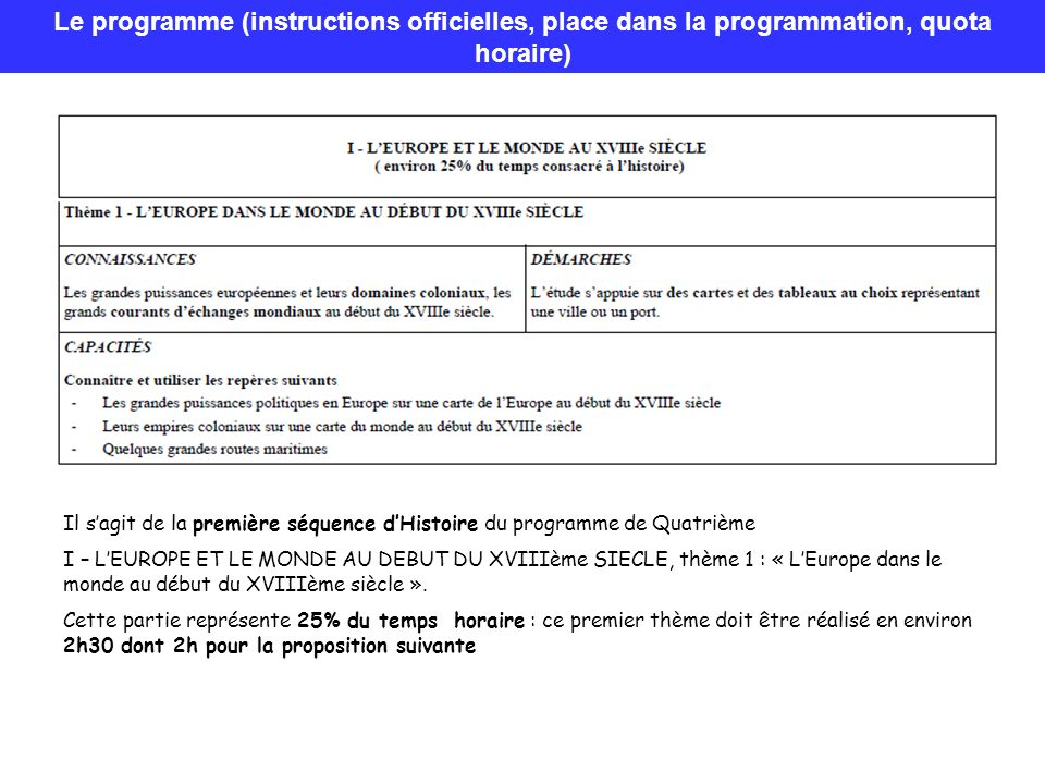 Le programme (instructions officielles, place dans la programmation, quota horaire)