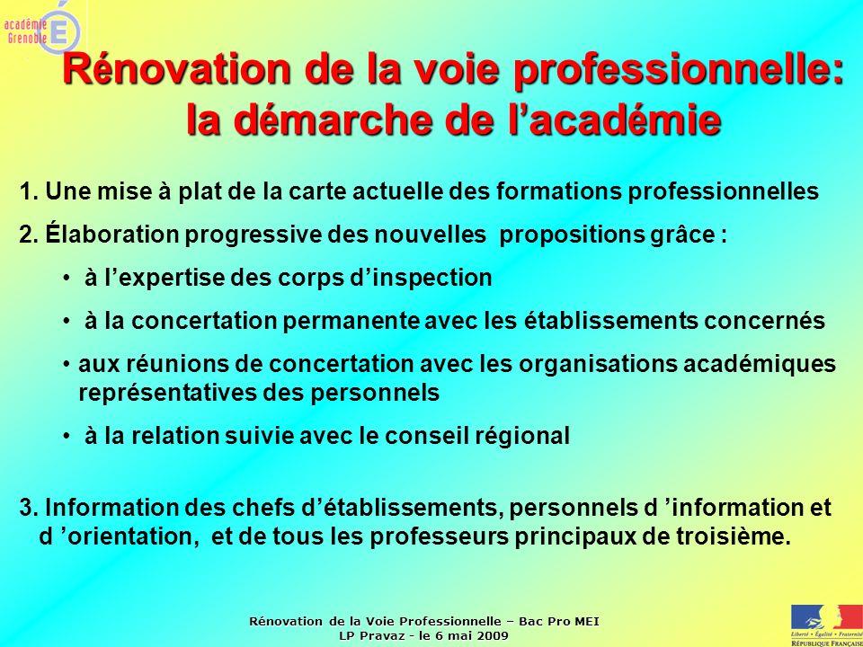 Rénovation de la voie professionnelle: la démarche de l'académie