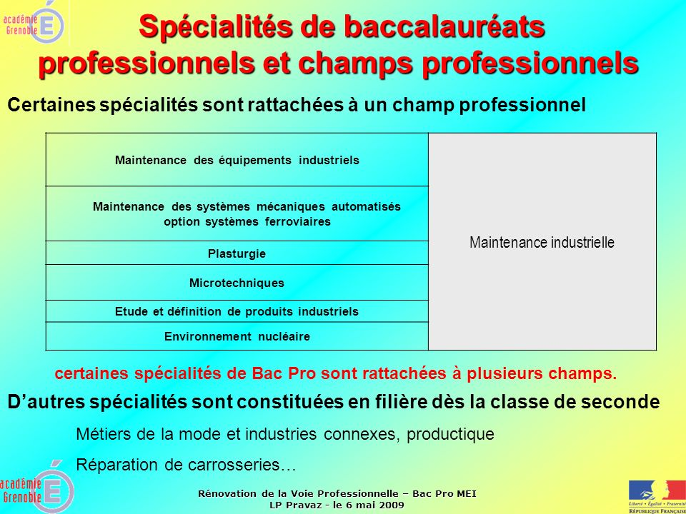 Spécialités de baccalauréats professionnels et champs professionnels