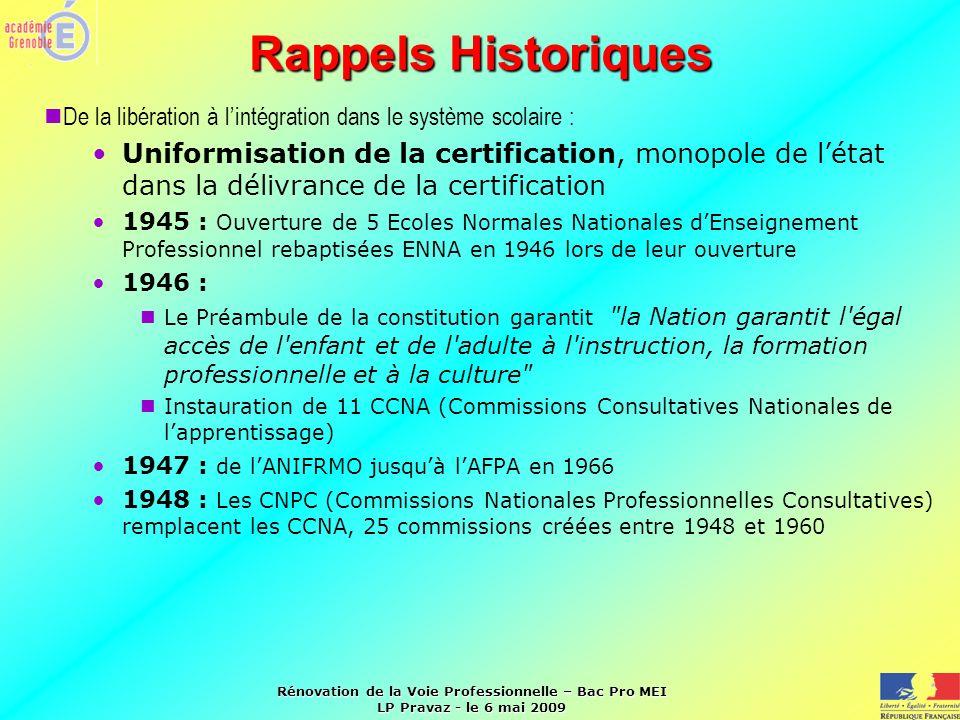 Rappels Historiques De la libération à l'intégration dans le système scolaire :