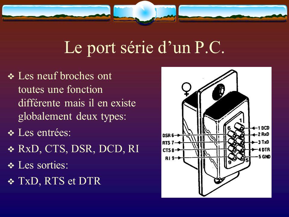Le port série d'un P.C. Les neuf broches ont toutes une fonction différente mais il en existe globalement deux types: