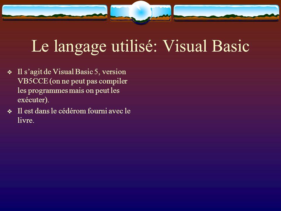 Le langage utilisé: Visual Basic