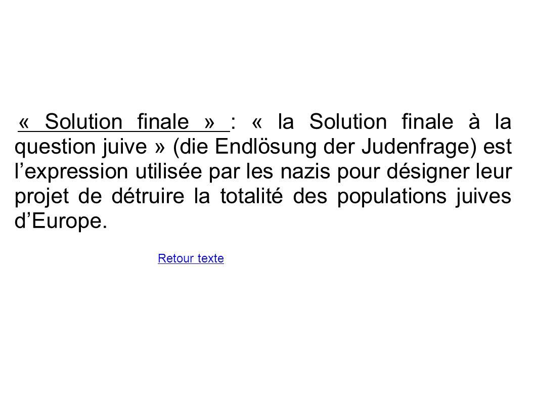 « Solution finale » : « la Solution finale à la question juive » (die Endlösung der Judenfrage) est l'expression utilisée par les nazis pour désigner leur projet de détruire la totalité des populations juives d'Europe.