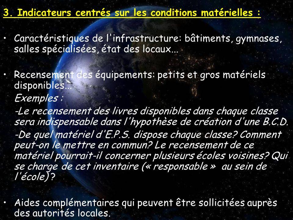 3. Indicateurs centrés sur les conditions matérielles :