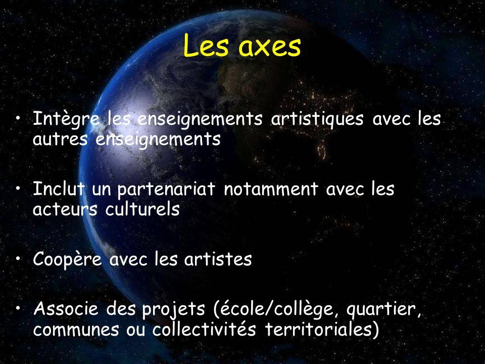 Les axes Intègre les enseignements artistiques avec les autres enseignements. Inclut un partenariat notamment avec les acteurs culturels.