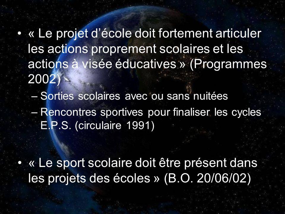 « Le projet d'école doit fortement articuler les actions proprement scolaires et les actions à visée éducatives » (Programmes 2002)