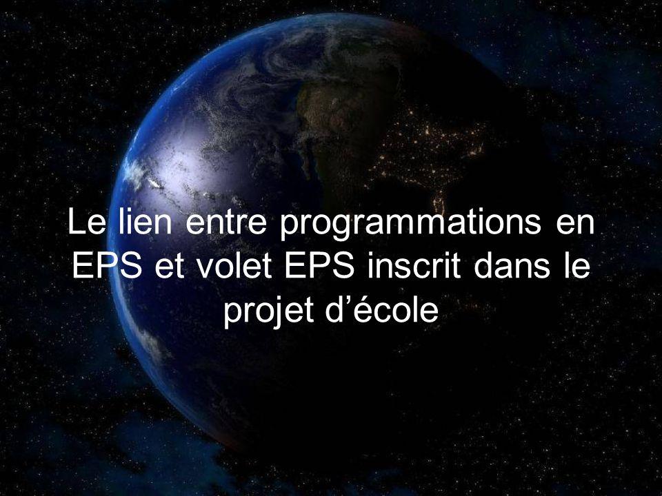Le lien entre programmations en EPS et volet EPS inscrit dans le projet d'école