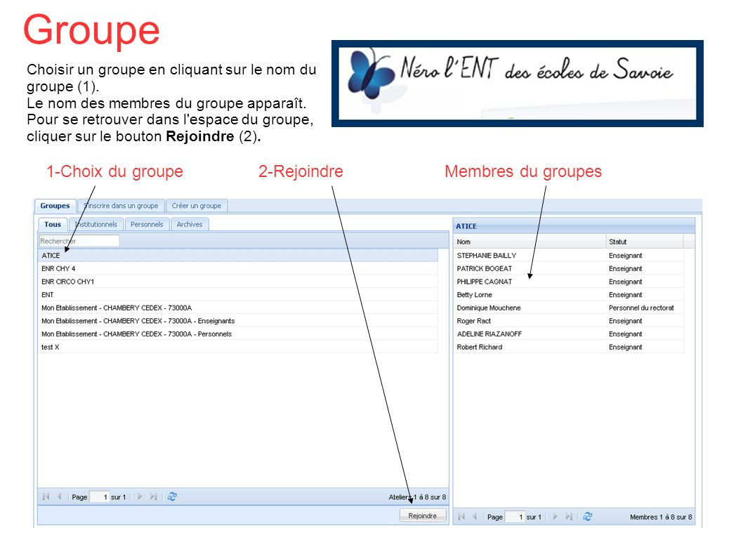 Groupe 1-Choix du groupe 2-Rejoindre Membres du groupes