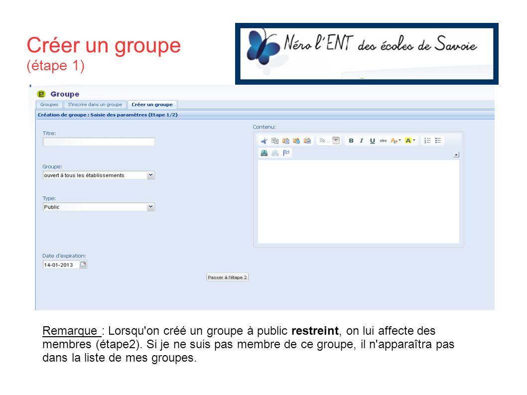 Créer un groupe (étape 1)