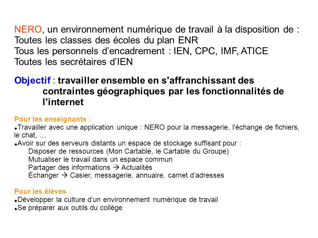 NERO, un environnement numérique de travail à la disposition de :