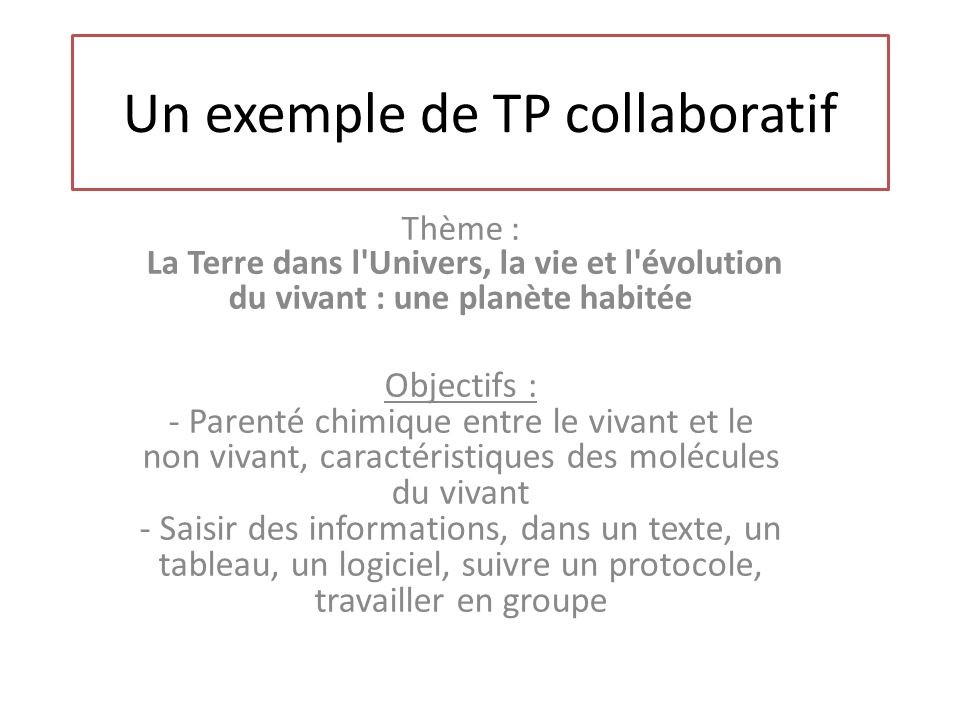 Un exemple de TP collaboratif