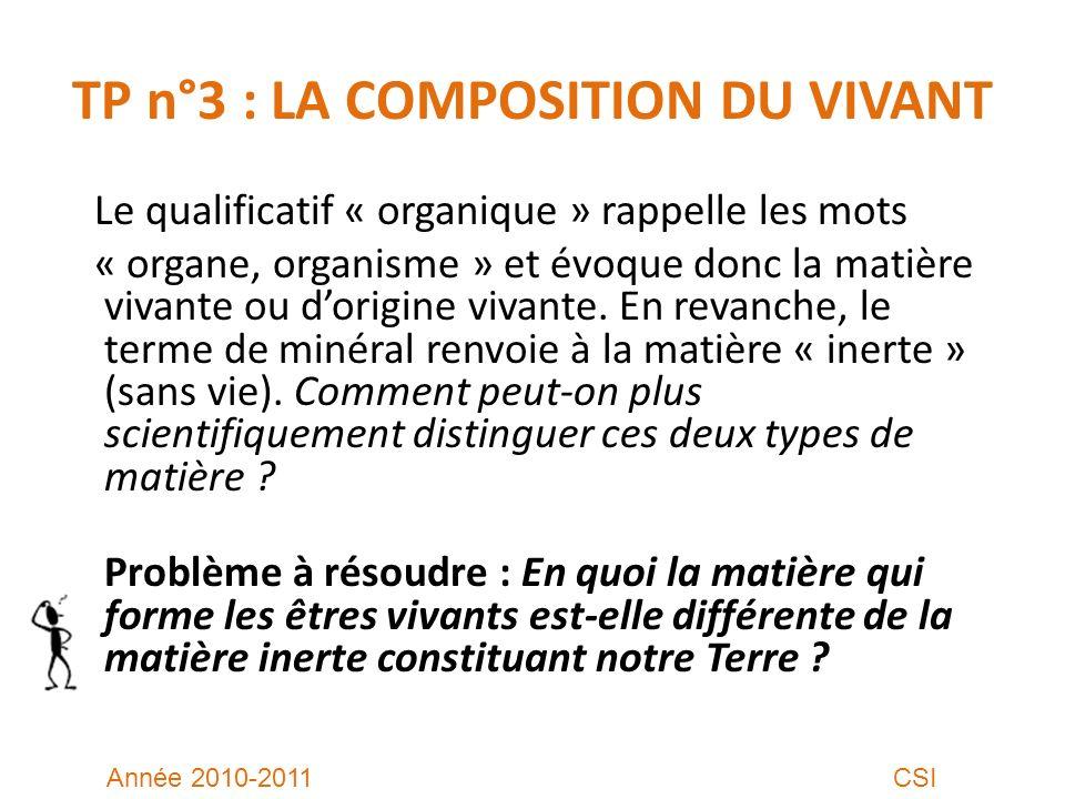 TP n°3 : LA COMPOSITION DU VIVANT