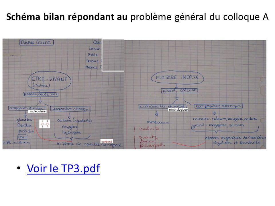 Schéma bilan répondant au problème général du colloque A