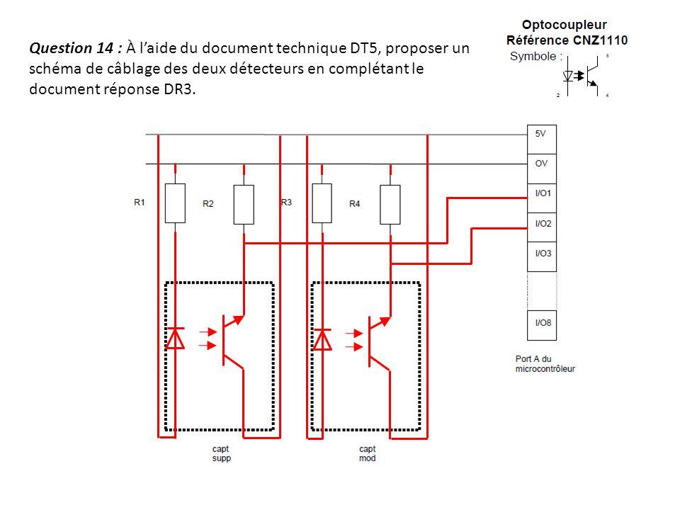 Question 14 : À l'aide du document technique DT5, proposer un schéma de câblage des deux détecteurs en complétant le document réponse DR3.