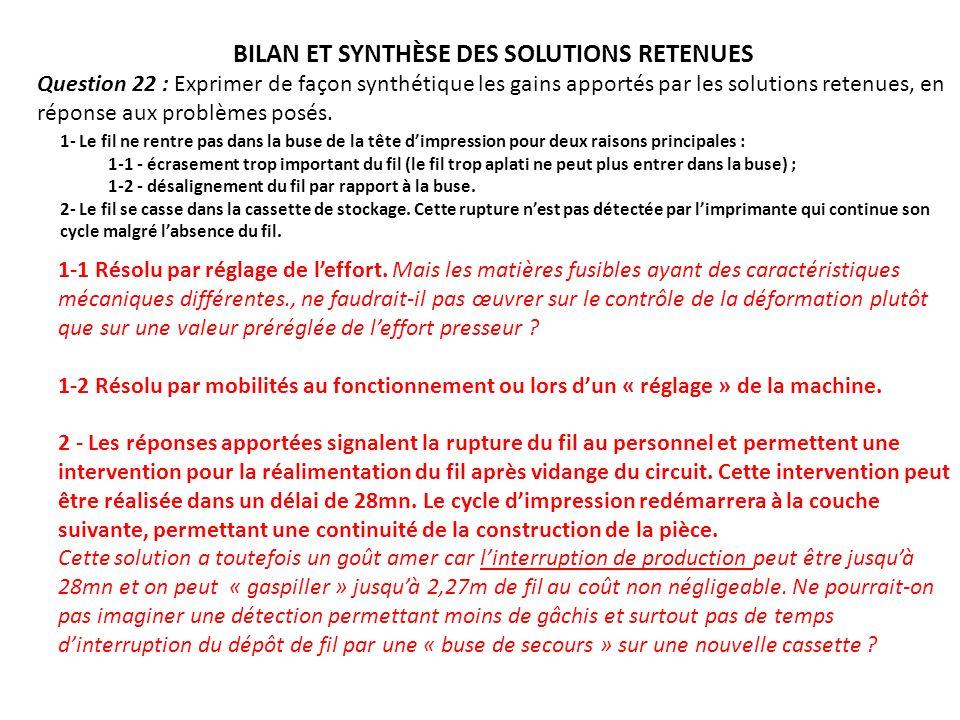 BILAN ET SYNTHÈSE DES SOLUTIONS RETENUES