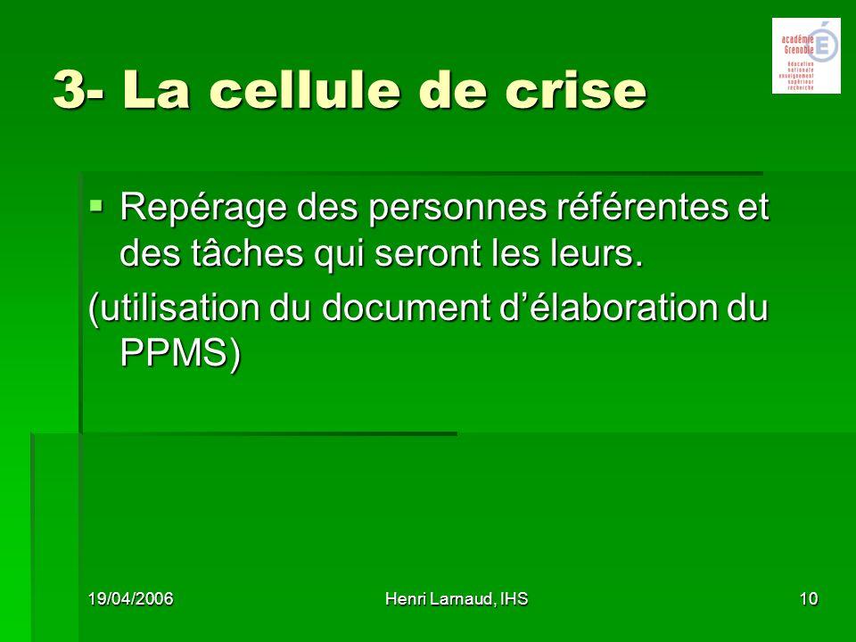 26/03/2017 3- La cellule de crise. Repérage des personnes référentes et des tâches qui seront les leurs.