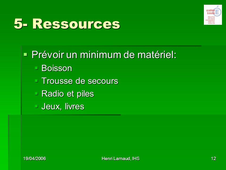 5- Ressources Prévoir un minimum de matériel: Boisson