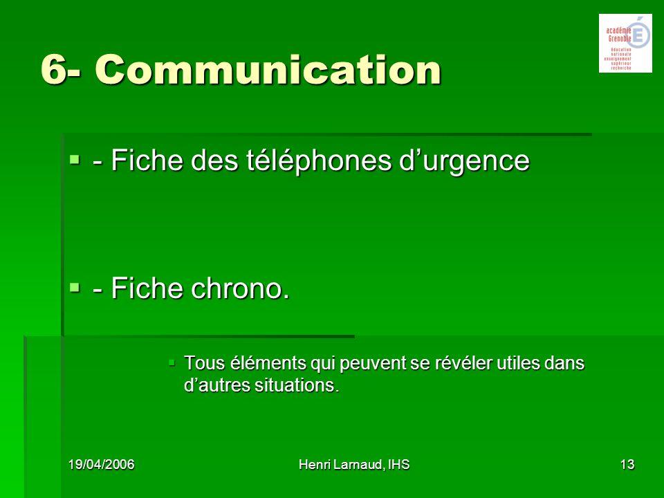 6- Communication - Fiche des téléphones d'urgence - Fiche chrono.