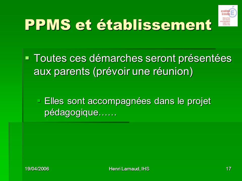 26/03/2017 PPMS et établissement. Toutes ces démarches seront présentées aux parents (prévoir une réunion)