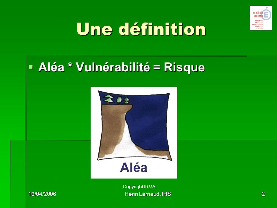 Une définition Aléa * Vulnérabilité = Risque Copyright IRMA 19/04/2006