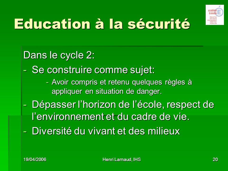 Education à la sécurité