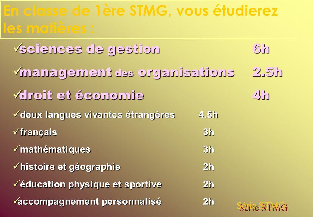 En classe de 1ère STMG, vous étudierez les matières :