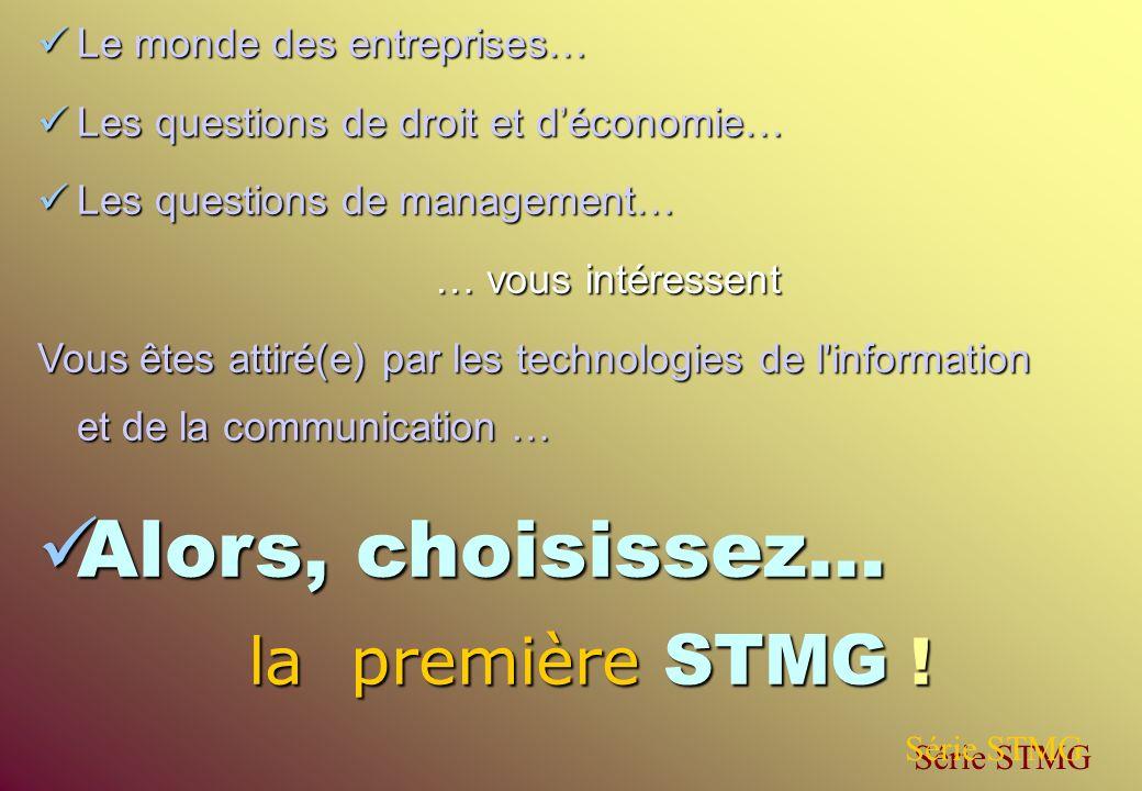 Alors, choisissez… la première STMG ! Le monde des entreprises…