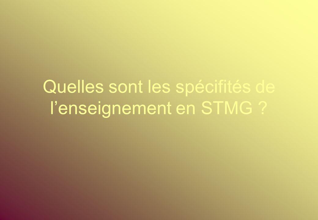 Quelles sont les spécifités de l'enseignement en STMG