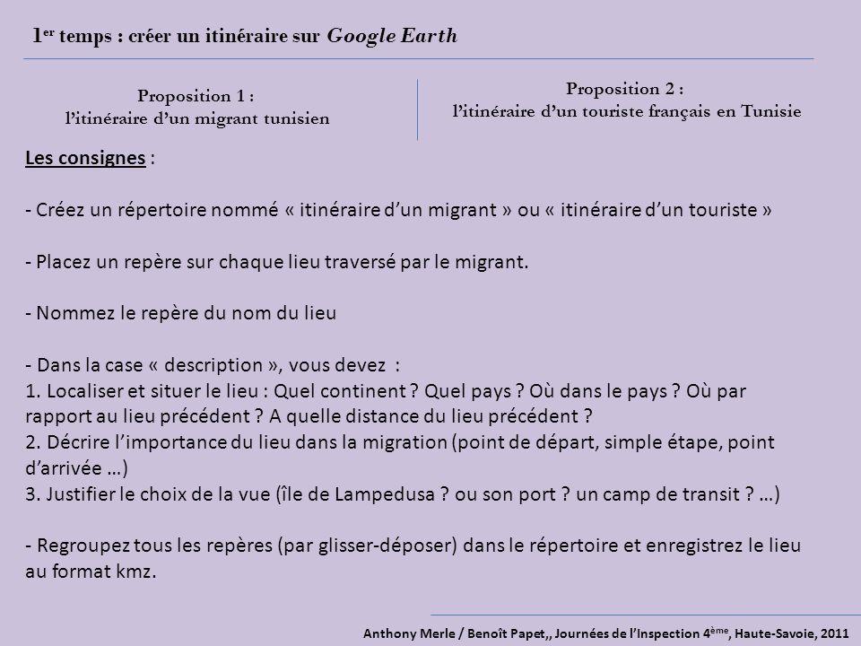1er temps : créer un itinéraire sur Google Earth