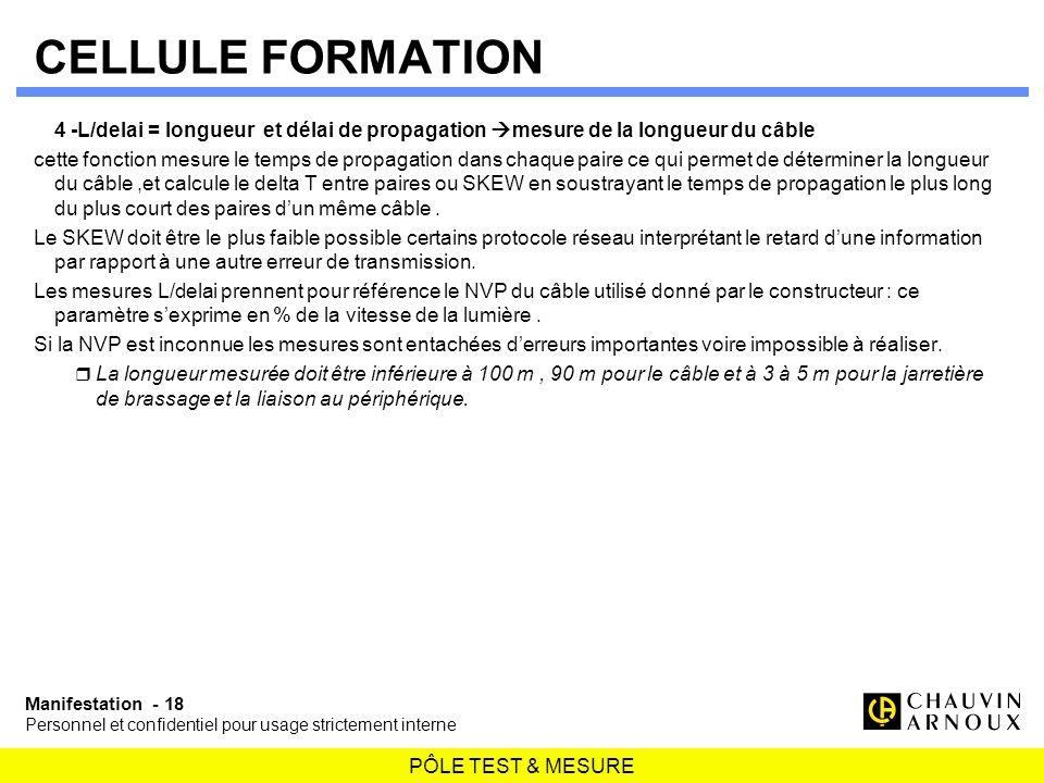 CELLULE FORMATION 4 -L/delai = longueur et délai de propagation mesure de la longueur du câble.
