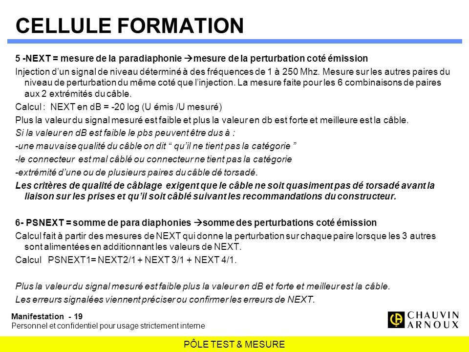 CELLULE FORMATION 5 -NEXT = mesure de la paradiaphonie mesure de la perturbation coté émission.