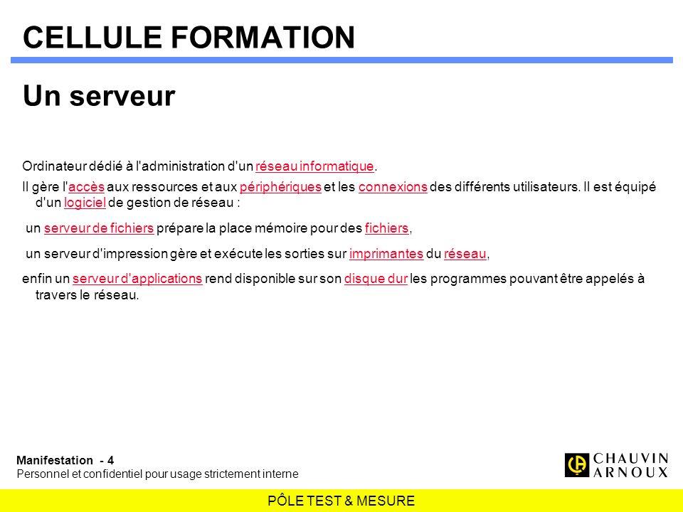 CELLULE FORMATION Un serveur