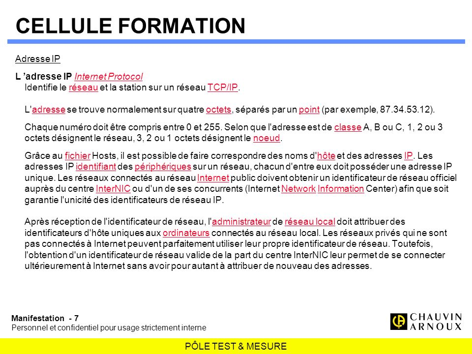CELLULE FORMATION Adresse IP