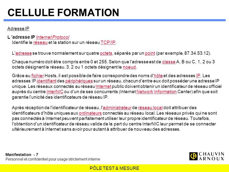 CELLULE FORMATION Adresse IP