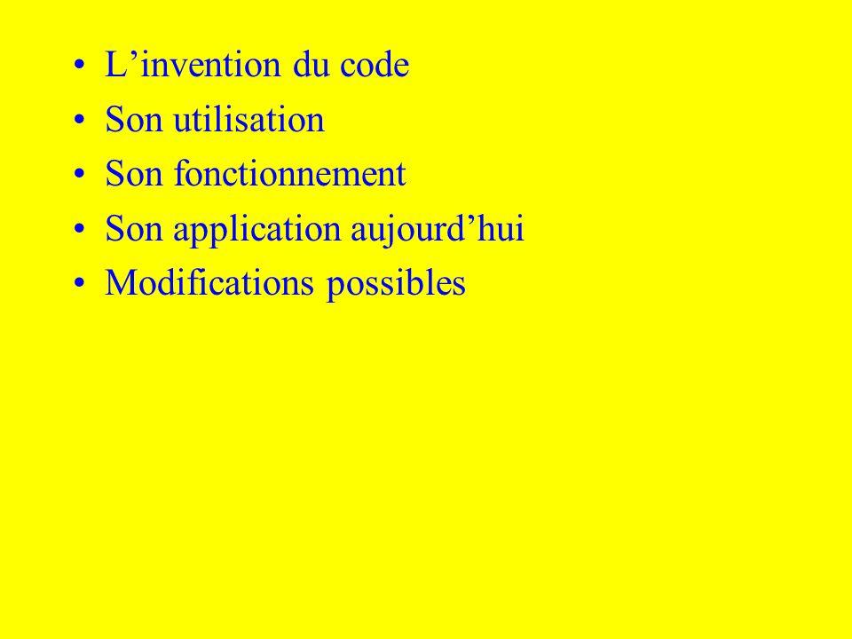 L'invention du codeSon utilisation.Son fonctionnement.