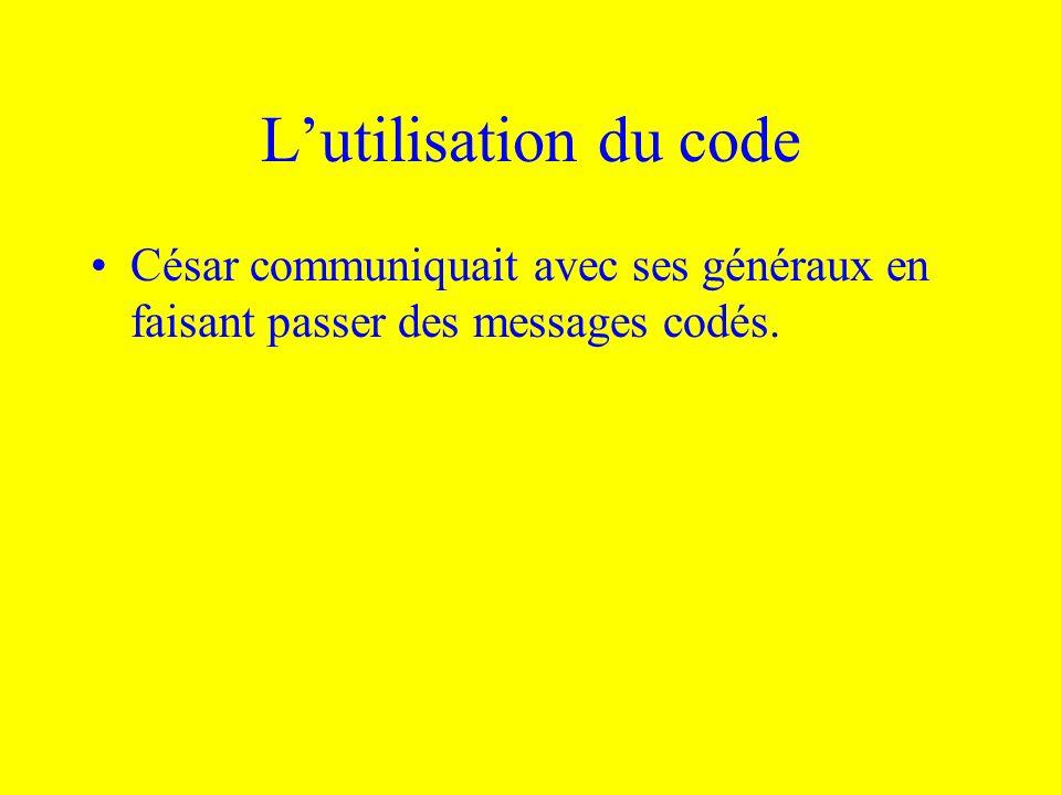 L'utilisation du code César communiquait avec ses généraux en faisant passer des messages codés.