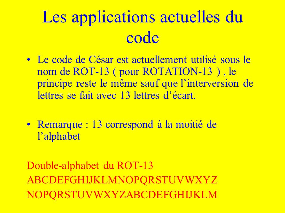 Les applications actuelles du code
