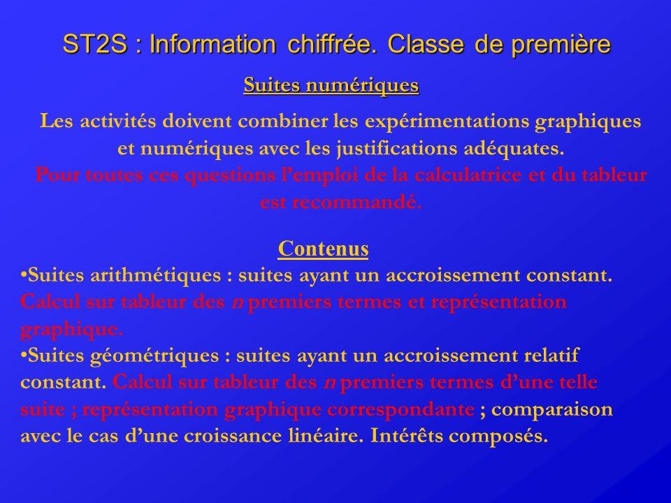 ST2S : Information chiffrée. Classe de première