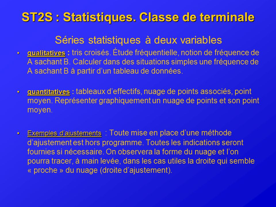 ST2S : Statistiques. Classe de terminale