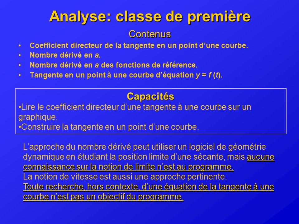 Analyse: classe de première
