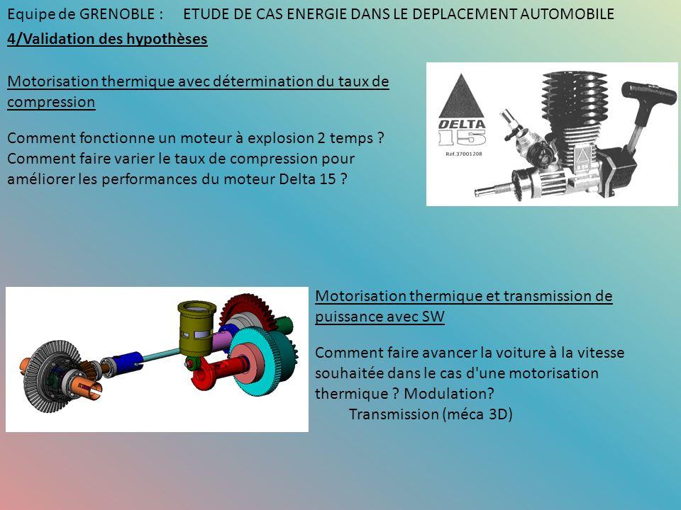 Equipe de GRENOBLE : ETUDE DE CAS ENERGIE DANS LE DEPLACEMENT AUTOMOBILE