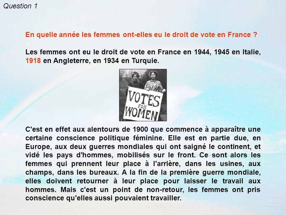 Question 1 En quelle année les femmes ont-elles eu le droit de vote en France