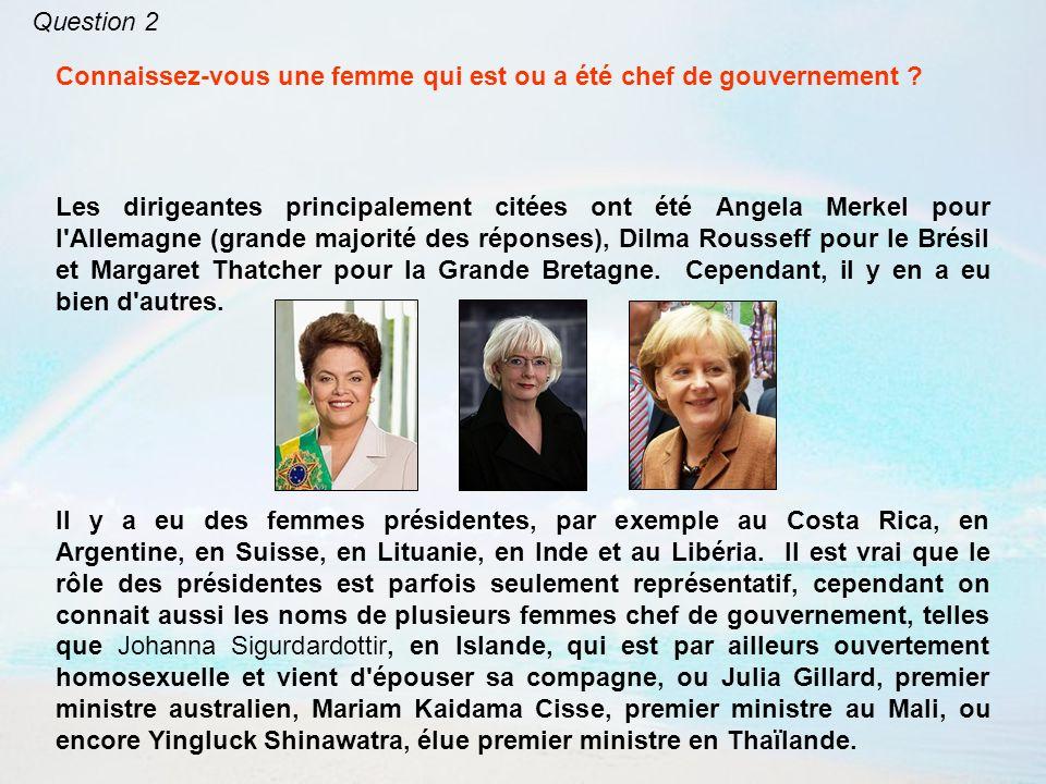 Question 2 Connaissez-vous une femme qui est ou a été chef de gouvernement