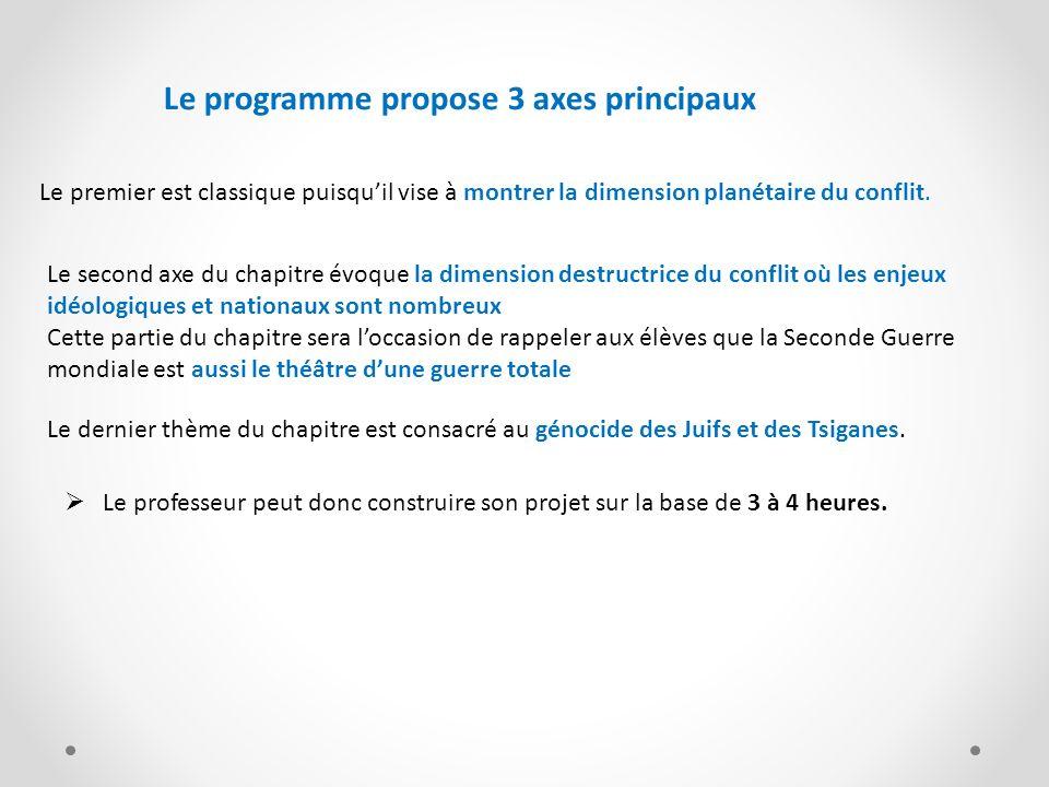 Le programme propose 3 axes principaux