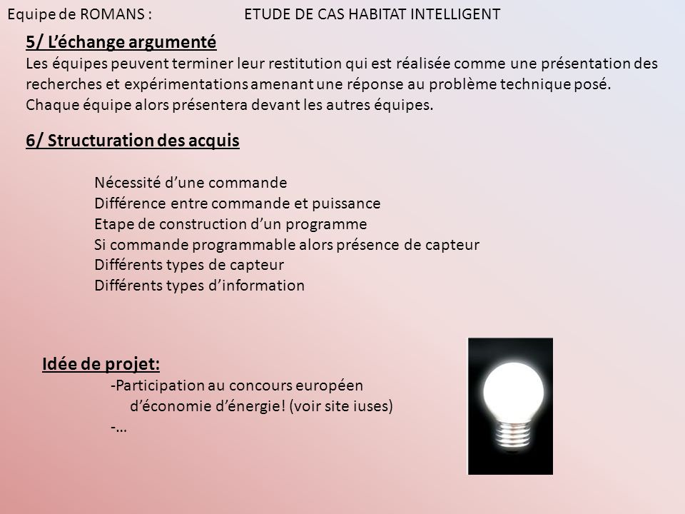 6/ Structuration des acquis