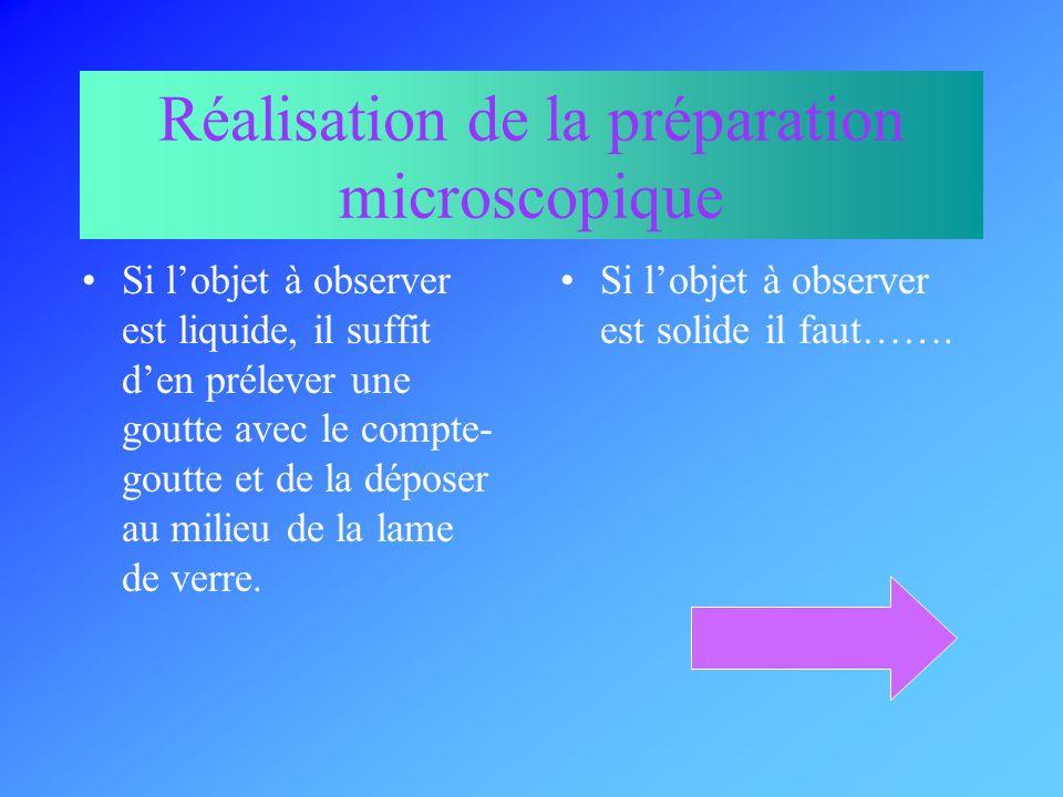 Réalisation de la préparation microscopique
