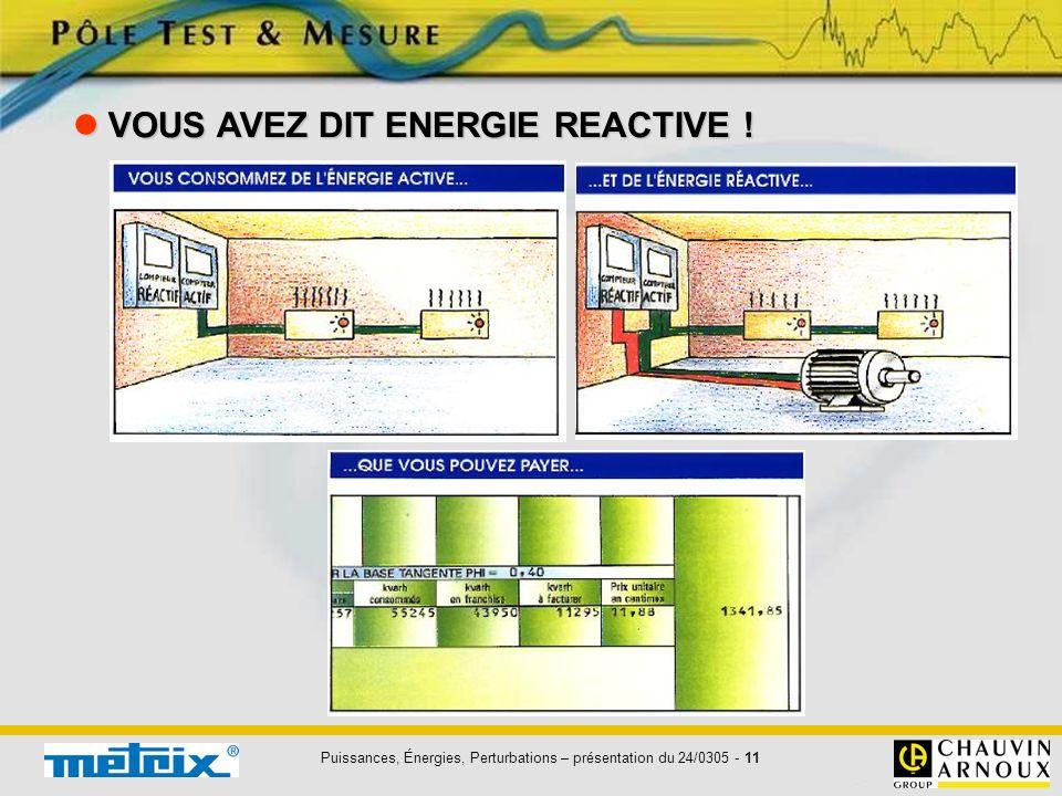  VOUS AVEZ DIT ENERGIE REACTIVE !