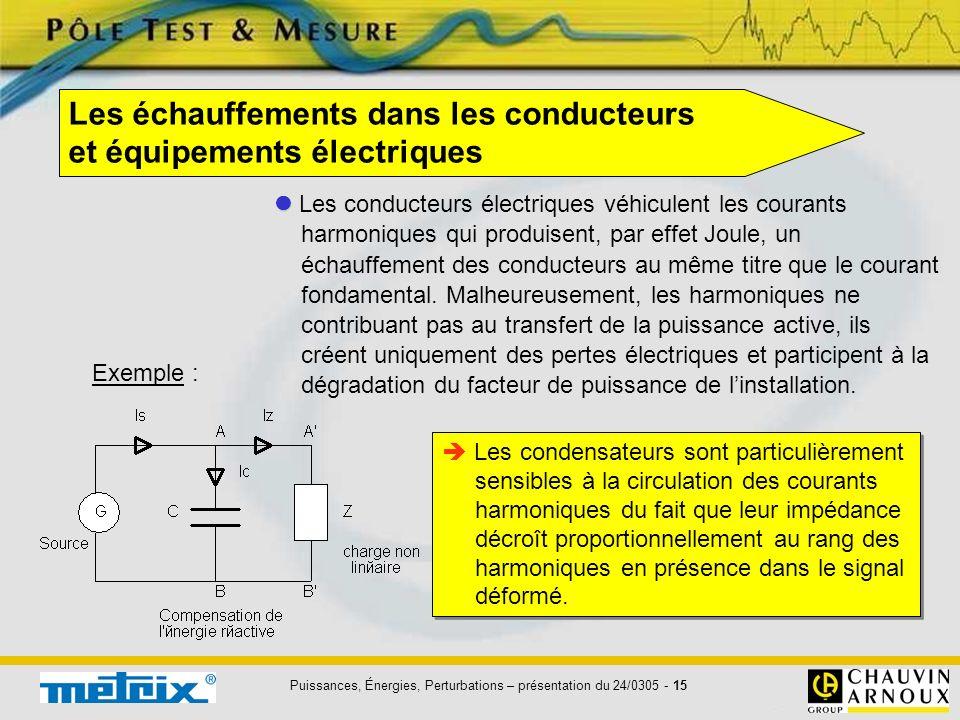 Les échauffements dans les conducteurs et équipements électriques