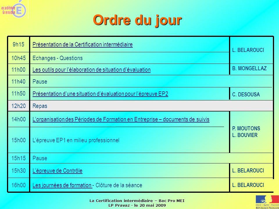 Ordre du jour 9h15 Présentation de la Certification intermédiaire